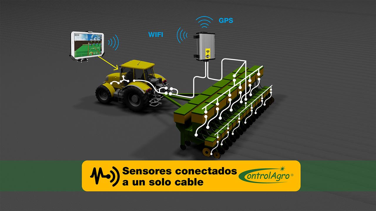 Conectar a un solo cable todos los sensores del implemento, sea de semilla y fertilización, rotación, tolva, etc es otra característica tecnológica del CAS 5100T.
