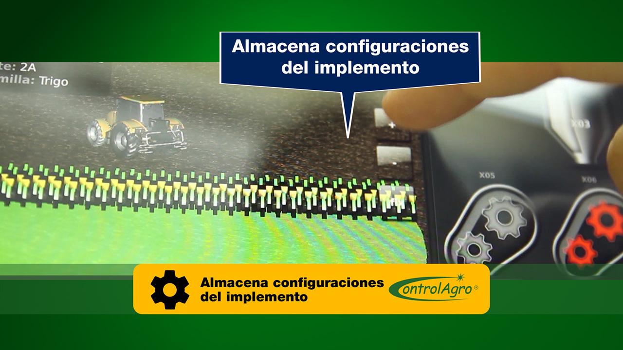 Permite grabar configuraciones para el implemento.