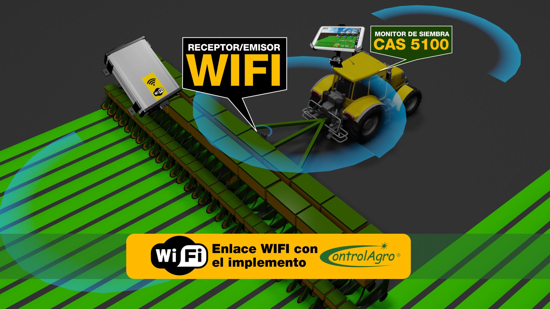 La adopción de enlace WIFI entre el monitor y el implemento es una de las principales novedades tecnológicas de Monitor de siembra inteligente CAS 5100T.
