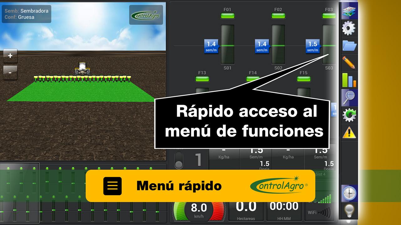 La interfaz de usuario esta diseñada para acceder de manera simple y rápida a las principales funciones de operación.